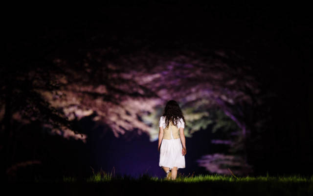 Photo from NNF15 show Wolf's Child, a woman walks away from the camera into a dark space, trees are on either side of her.