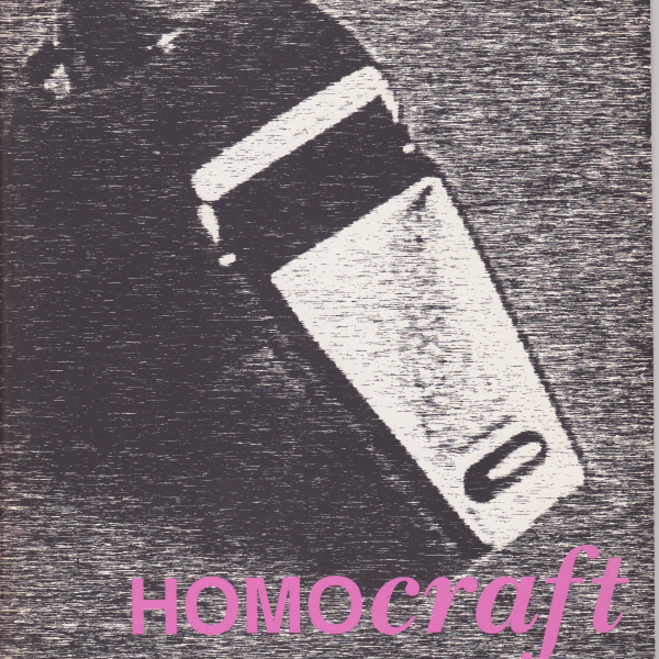 HOMOcraft exhibition programme cover: a close up, fuzzy black and white image of a razor features the words 'HOMOcraft' written in pink font at the bottom-right of the cover.